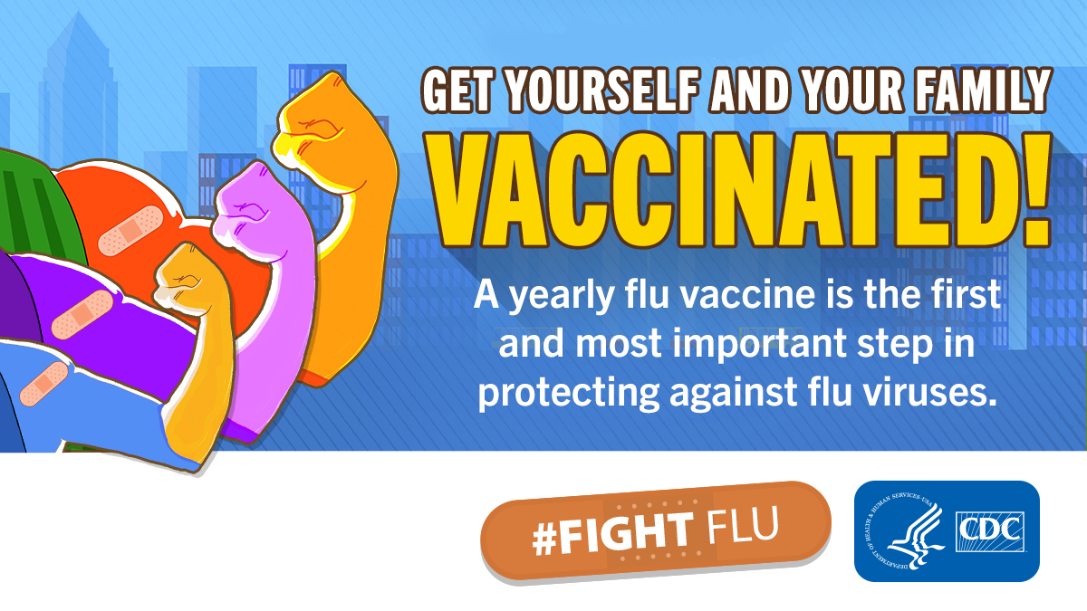 Get yourself and your family vaccinated! A yearly flu vaccine is the first and most important step in protecting against flu viruses. #Fight Flu CDC